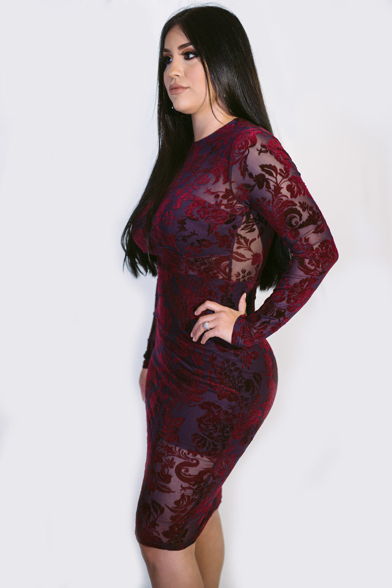 Violet Floral Velvet Mesh Layer Dress
