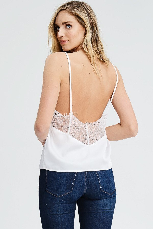 Zaria Satin Low Open Back Cami