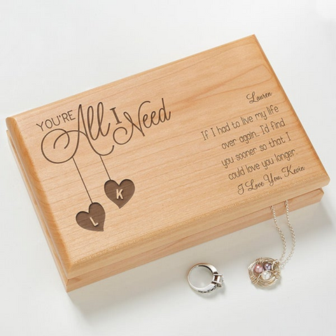 You're All I Need Personalized Jewelry Box