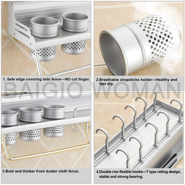 Aluminum Kitchen Shelf Organizer/Cutlery Holder