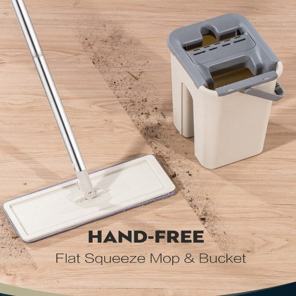 Hand Free Wringing Flat Squeeze Mop and Bucket