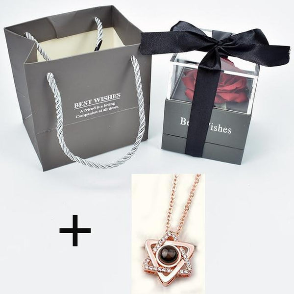 Surprise Rose Flower Gift Box With  Magic Necklace