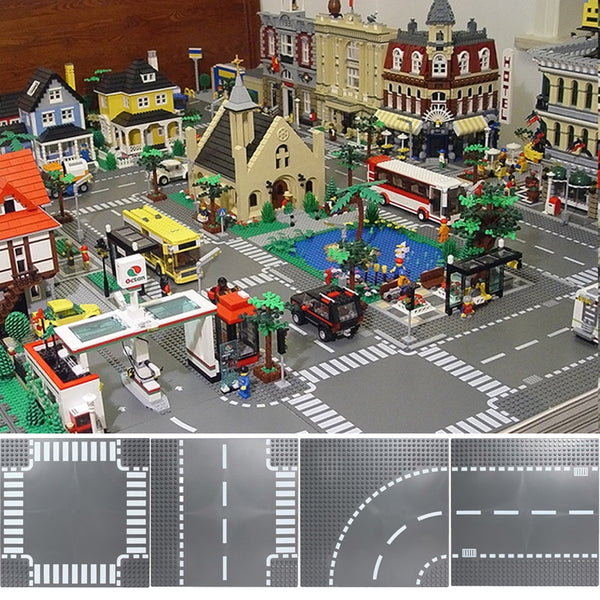 Road Plate Straight Crossroad Curve T-Junction Building Blocks Compatible LegoINGlys City Parts Bricks Base Plate Base plate Toys, Building Blocks City The Shuttle Launch Center Block Compatible LegoINGly DIY Bricks Educational Toys For Children Gift, construction set.