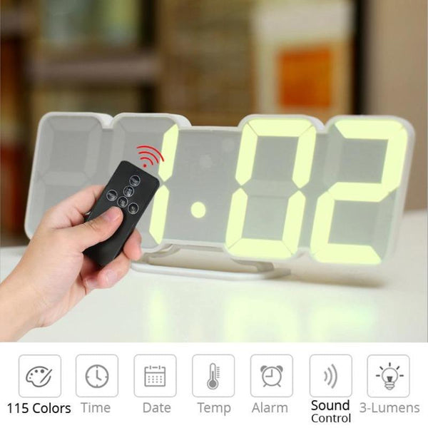 3D Remote Control Digital Wall Clock 115 Colors LED Table Clock Desk Time Alarm Temperature Date Sound Control Night Light, en8810, 3d digital led night wall clock, white led wall clock, 3d modern design digital led wall clock, large, 3d creative circular large led digital wall clock, digital alarm clock wall light projection and weather station,  3d wireless remote digital wall alarm clock, wall mounted digital alarm clock, lorell lcd wall/alarm clock - digital,