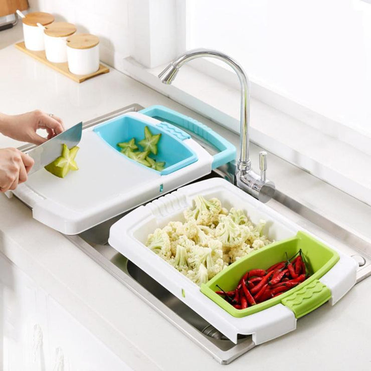 chopping board with strainer
