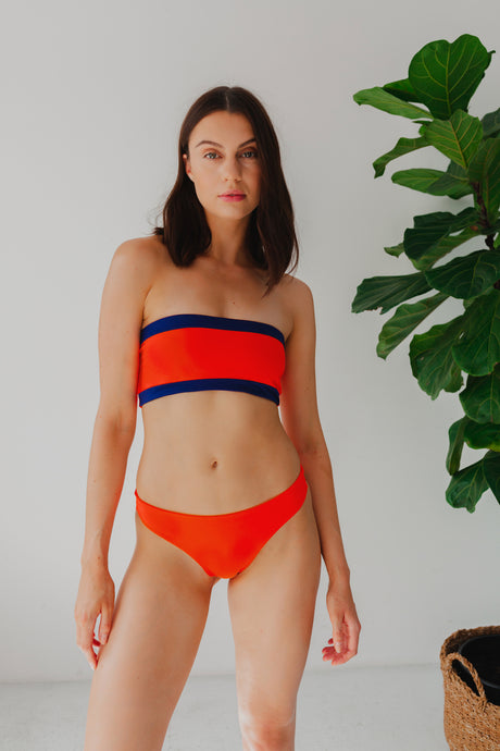 Sierra Bikini Top - Coral and Blue