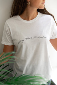 Young Wild + Plastic Free Tee White