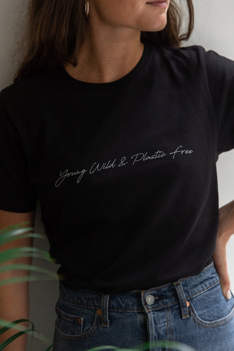 Young, Wild + Plastic Free Tee Black