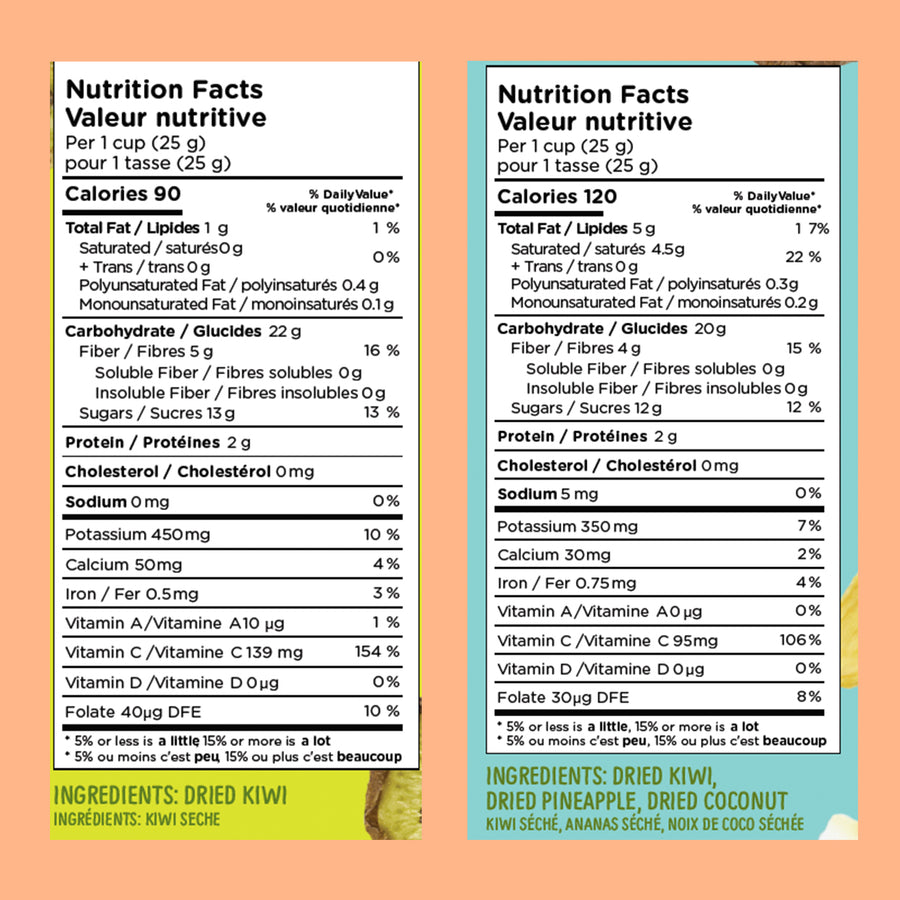 Mixed Chiwis Kiwi Chips Nutritional Information - 100% Natural, gluten free and vegan chips