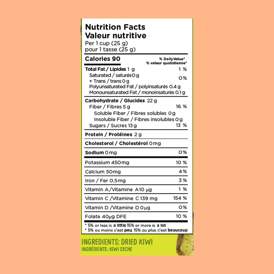 Nutritional information for Original Chiwis Kiwi Chips – Chiwis are 100% natural, vegan and gluten free chips