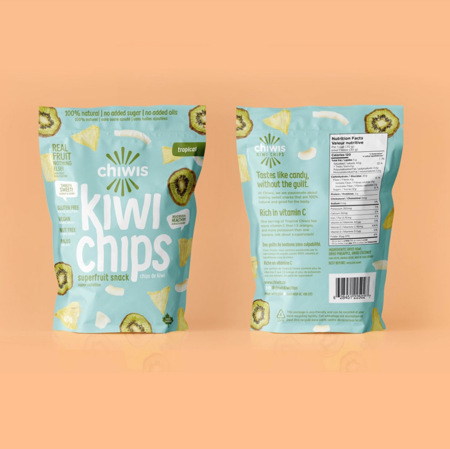 Tropical Chiwis Kiwi & Coconut Chips - Healthy Fruit Chips