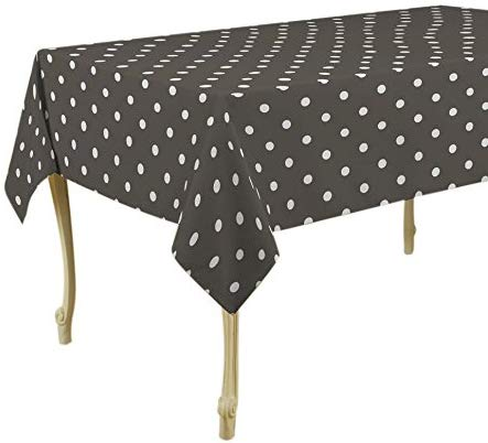 My Jolie Home Tablecloth, Stain Resistant, Spill Proof, Liquid Spills Grey Dots