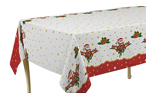 "60 x 80-Inch Rectangular Tablecloth White and Red Christmas Santa with Gold Star, Stain Resistant, Washable, Liquid Spill bead up, Seats 8 to 10 People (Other Size: 63"" Round, 60 x 95"", 60 x 120"")."