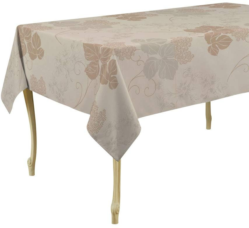 My Jolie Home Tablecloth Beige Flowers, Stain Resistant, Washable, Liquid Spills Bead up, Seats 4 to 6 People (Other 60 x 80, 60 x 95, 60 x 120).