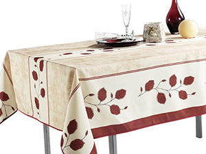 "My Jolie Home Rectangular Tablecloth Autumn Beige Red Leaf, Stain Resistant, Washable, Liquid Spills Bead up 63"" Round, 60 x 80, 60 x 95, 60 x 120"