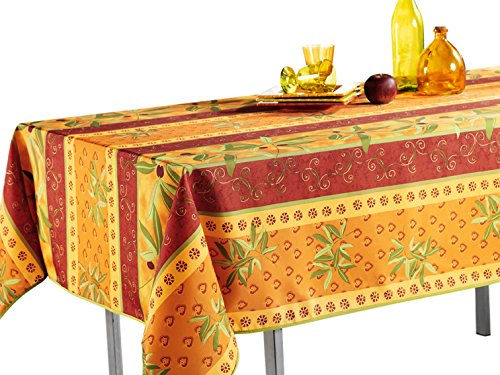 "My Jolie Home Tablecloth Orange Rustic Olive, Stain Resistant, Washable, Liquid Spills, Seats 10 to 12 People (Other Size: 63"" Round, 60 x 80, 60 x 95)"