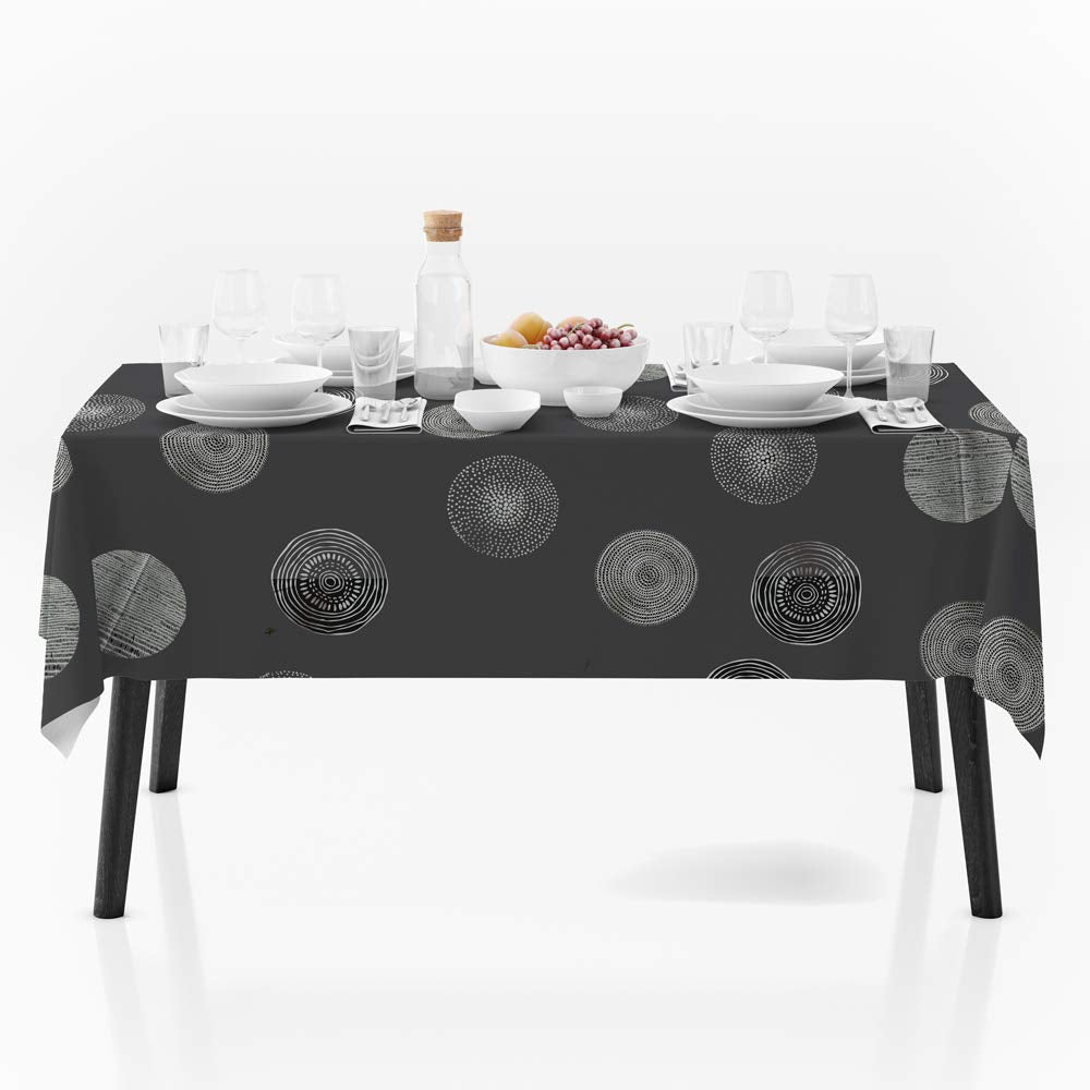 My Jolie Home 60 x 80-Inch Rectangular Light Grey Silver Circle Stain Resistant Tablecloth, Grey/Silver
