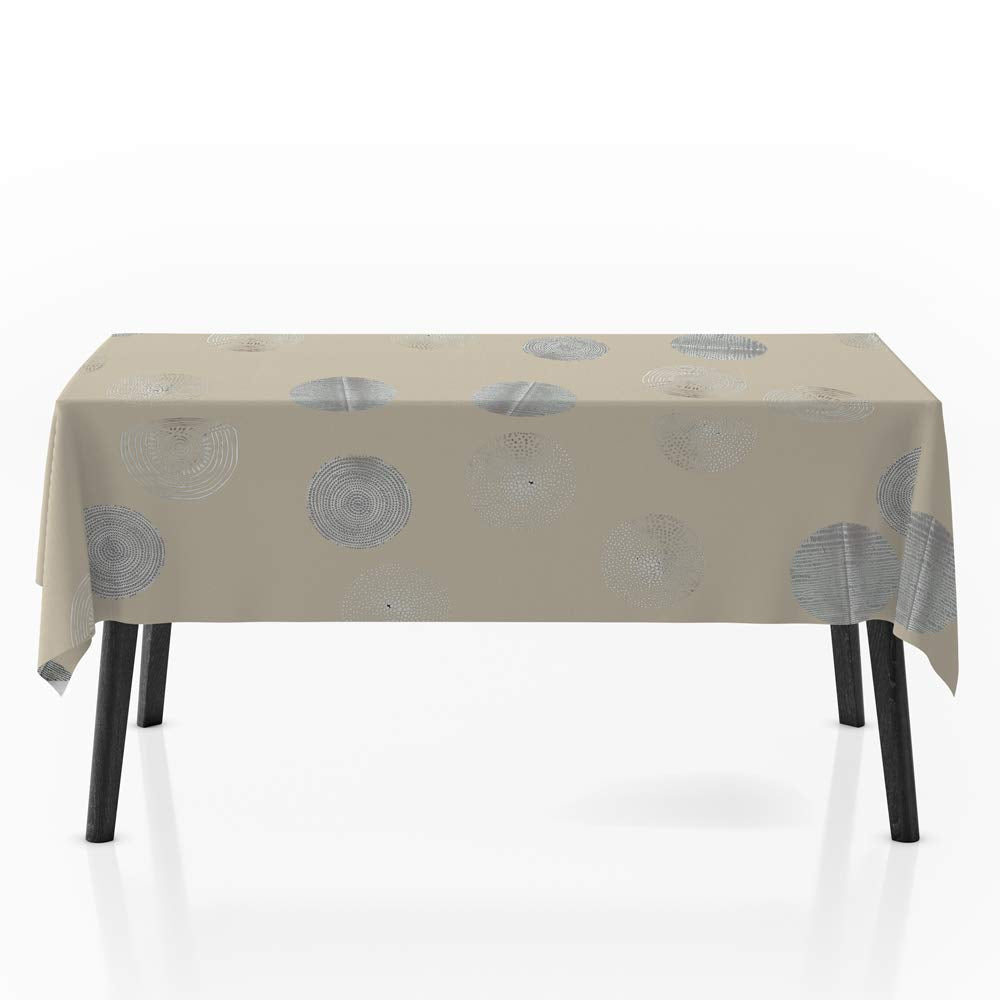 My Jolie Home, Tablecloth Beige and Silver Sparkling Circle, Stain Resistant, Washable, Liquid Spills Bead up, Seats 8 to 10 People (Other Size: 63-Inch Round, 60x80-Inch, 60x120-Inch):