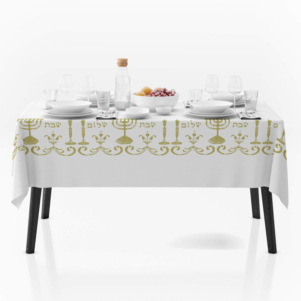 "My Jolie Home, Tablecloth White Shabbat Chalom Jewish, Stain Resistant, Washable, Liquid Spills, Seats 10 to 12 People (Other Size: 63"" Round, 60 x 80, 60 x 95) (60 x 80-Inch)"