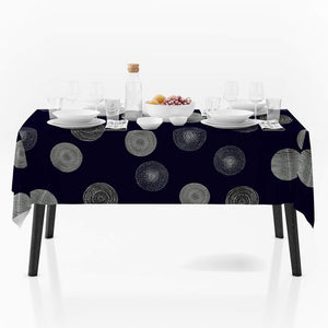 My Jolie Home 60 x 80-Inch Rectangular Light Dark Blue Silver Circle Stain Resistant Tablecloth, Dark Blue/Silver
