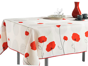 My Jolie Home Tablecloth, Stain Resistant, Spill Proof, Liquid Spills White Red Flower