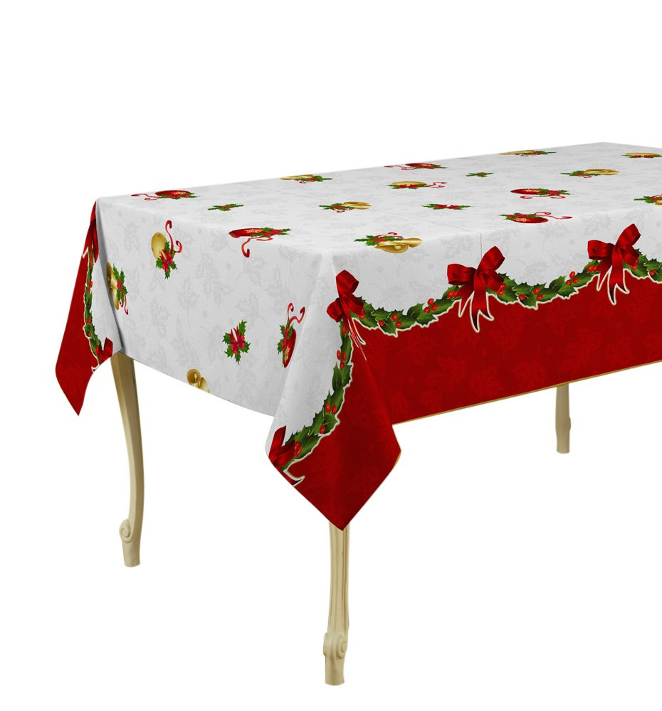 My Jolie Home Tablecloth, Stain Resistant, Spill Proof, Liquid Spills White Christmas Jingle Bells