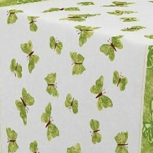 My Jolie Home Tablecloth Green Butterfly, Stain Resistant, Washable, Liquid Spills Bead up, Seats 4 to 6 People (Other 63-Inch Round, 60 x 80-Inch, 60 x 95-Inch, 60 x 120-Inch)