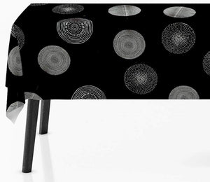 60 x 80-Inch Rectangular Tablecloth Black with Silver Sparkling Circle, Stain Resistant, Washable, Liquid Spills bead up, Seats 6 to 8 People (Other Size: 63-Inch Round, 60x95-Inch, 60x120-Inch):