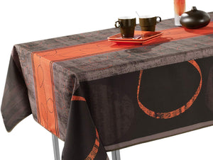"60 x 120-Inch Rectangular Tablecloth Grey and Brown Modern Orange, Stain Resistant, Washable, Liquid Spills bead up, Seats 10 to 12 People (Other Size Available: 63"" Round, 60 x 80"", 60 x 95"")."