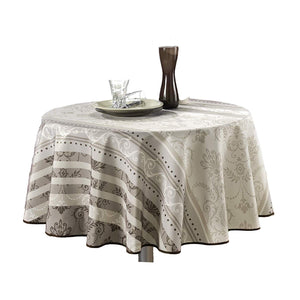 My Jolie Home Tablecloth Ivory White Brown Baroque, Stain Resistant, Washable, Liquid Spills Bead up