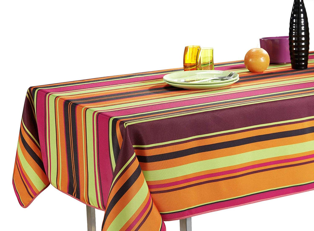My Jolie Home Tablecloth, Stain Resistant, Spill Proof, Liquid Spills Orange Stripe