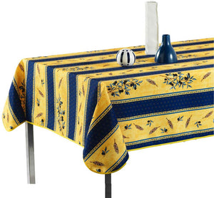My Jolie Home Tablecloth Yellow and Navy Blue Olive Branch, Stain Resistant, Washable, Liquid Spills Bead up