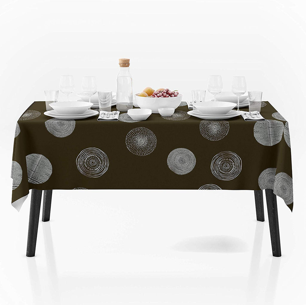 My Jolie Home, 60 x 80-Inch Rectangular Light Brown Silver Circle Stain Resistant Tablecloth, Brown/Silver