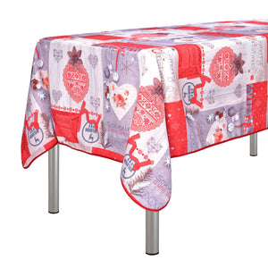 "My Jolie Home Tablecloth White and Souvenir a Day in The Mountain, Stain Resistant, Washable, Liquid Spills, Seats 10 to 12 People (Other Size: 63"" Round, 60 x 80, 60 x 95)."