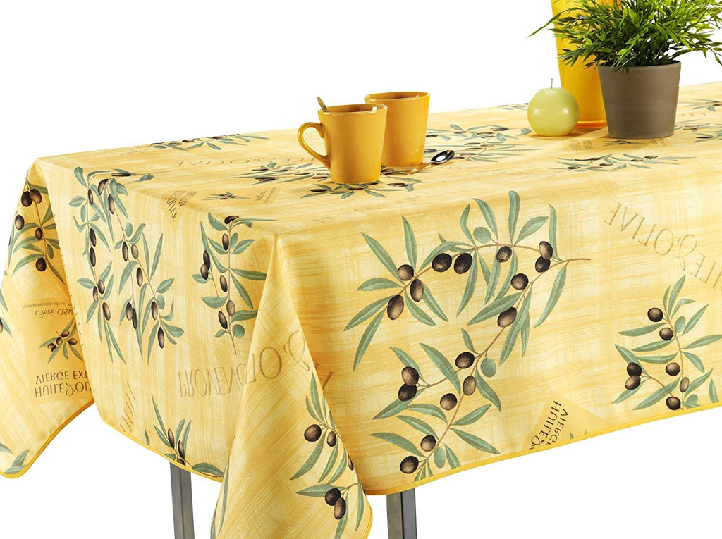 My Jolie Home, Tablecloth Yellow Olive Branch, Stain Resistant, Washable, Liquid Spills Bead up
