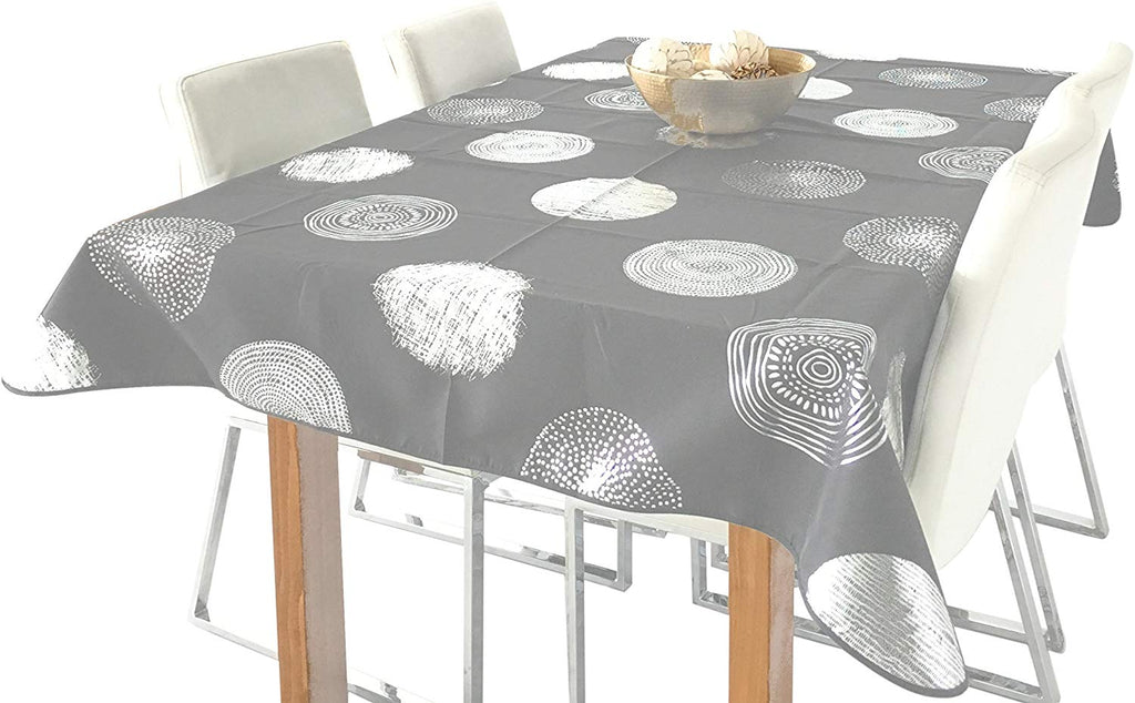 My Jolie Home Silver Circle Rectangular Stain Resistant Tablecloth - Grey & Silver