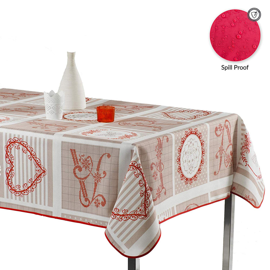 My Jolie Home Tablecloth, Stain Resistant, Spill Proof, Liquid Spills Versailles