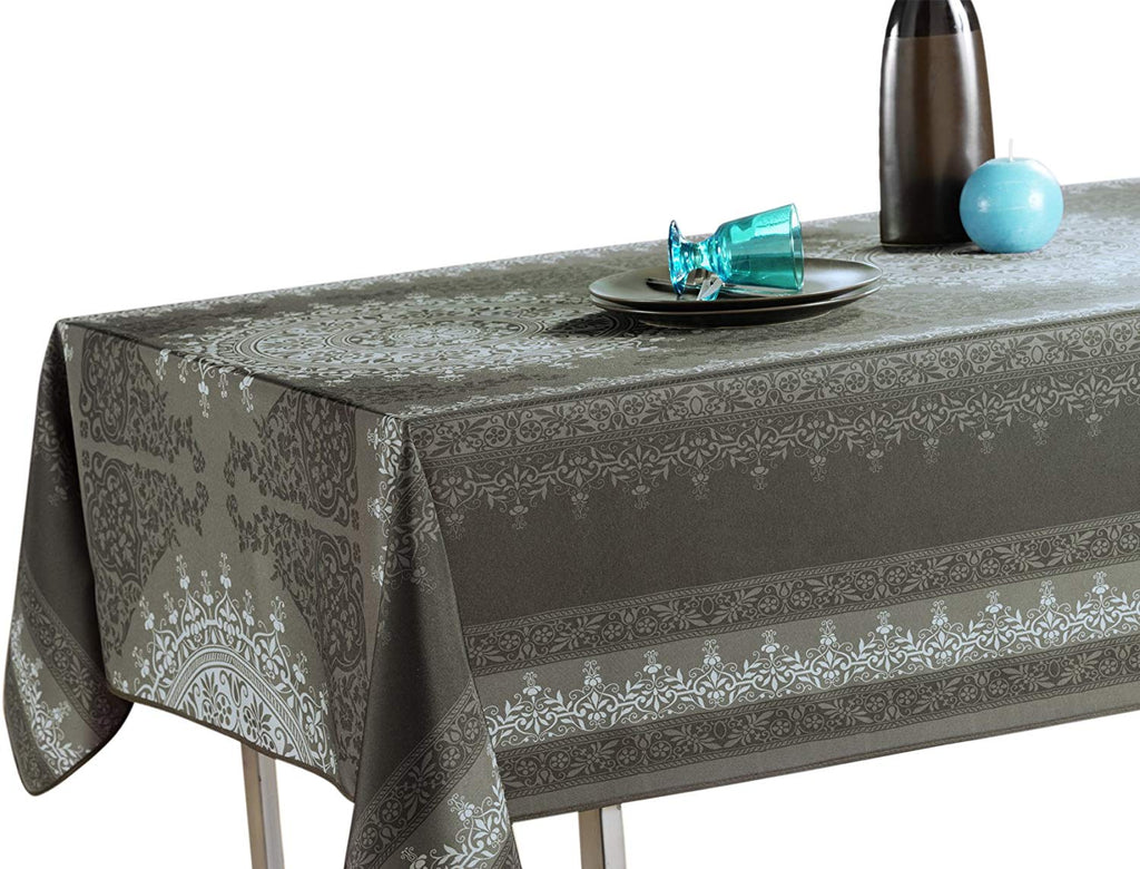 "My Jolie Home Tablecloth Black Silver Baroque, Stain Resistant, Washable, Liquid Spills Bead up 63"" Round, 60 x 80, 60 x 95, 60 x 120."