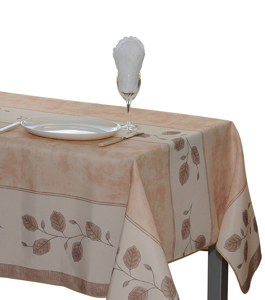 My Jolie Home Tablecloth, Stain Resistant, Spill Proof, Liquid Spills Beige Leaf