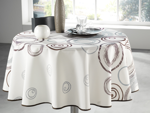My Jolie Home Tablecloth, Stain Resistant, Spill Proof, Liquid Spills Neutral Circle