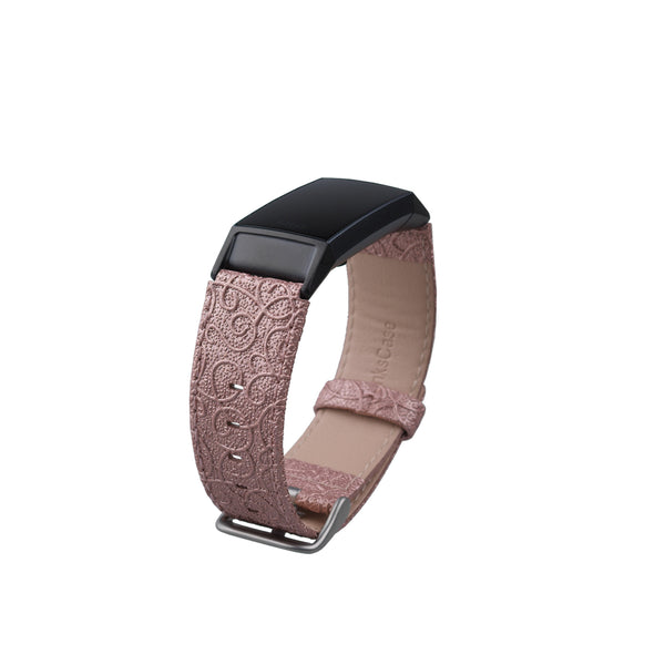 Thanskcase Band for Fitbit Charge 4 / Charge 3 / Charge 3 SE, Genuine Leather Wristbands Replacement Spring Bar and Embossed Pattern.