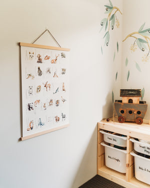 Animal Alphabetic | Natural Cotton Print w/ Magnetic Frame | Modern Monty