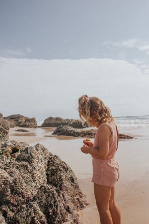 Dusty Rose | Ribbed Playsuit | Elsie May