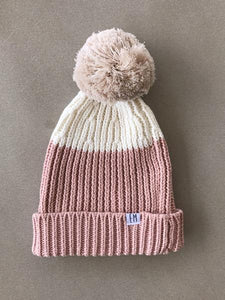 Pink | Ribbed Knit Beanie | Elsie May