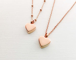 Rose Gold Heart Cremation Urn Necklace