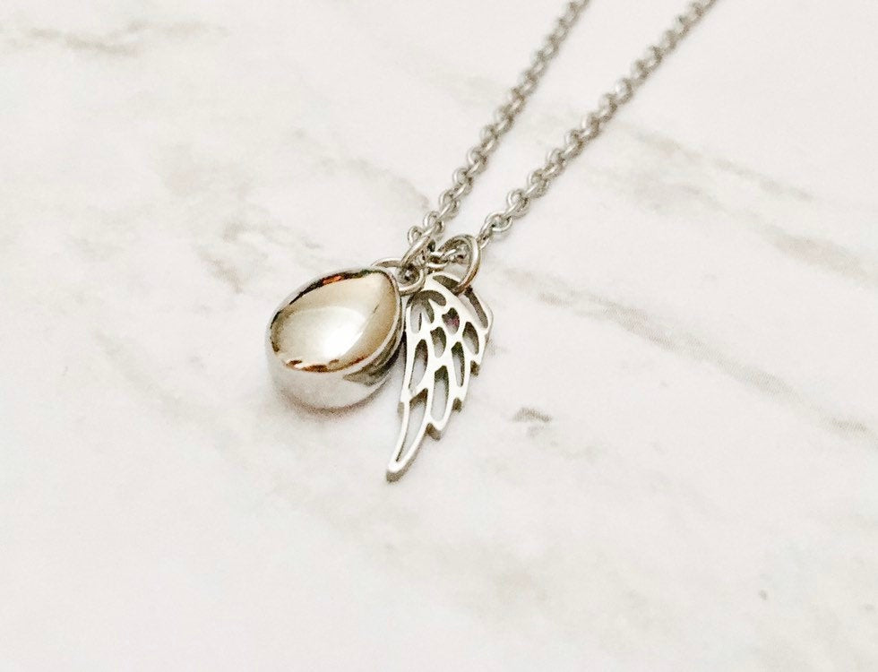 Silver Teardrop Cremation Urn Necklace with Wing