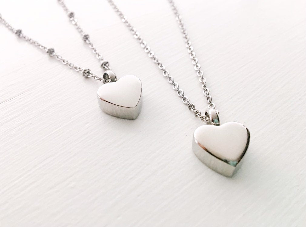 Silver Heart Cremation Urn Necklace