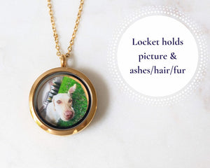 Round Gold Cremation Locket Necklace