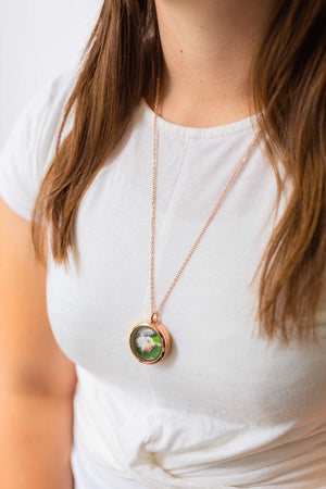 Round Rose Gold Cremation Locket Necklace