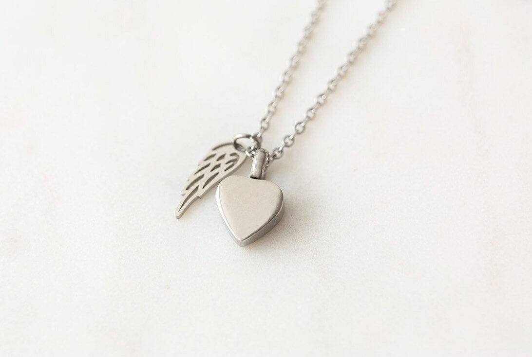 Silver Heart Cremation Urn Necklace with Wing